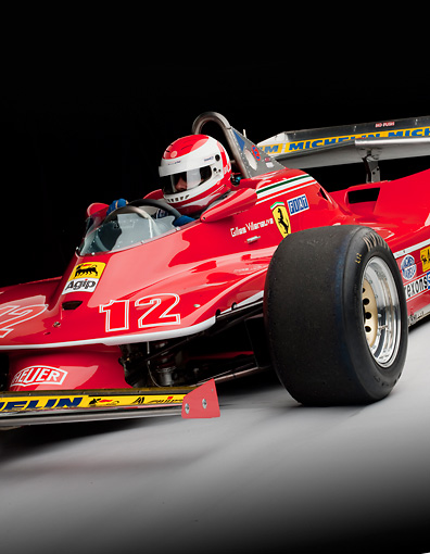 AUT 30 RK5180 01 © Kimball Stock 1979 Ferrari 312 T4 F1 Race Car Red Close-Up Detail With Rider Studio