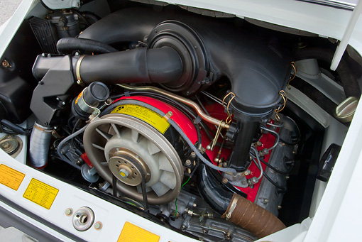 AUT 30 RK5223 01 © Kimball Stock 1973 Porsche Carrera RS 2.7 White Engine Detail