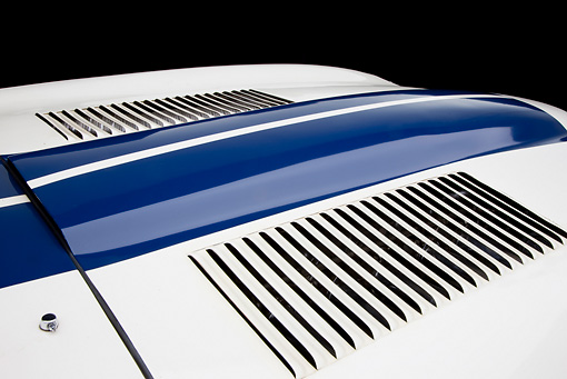 AUT 30 RK5265 01 © Kimball Stock 1963 Jaguar Lightweight E-Type 5114 WK White With Blue Stripes Vent Detail In Studio