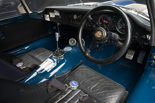 AUT 30 RK5276 01 © Kimball Stock 1963 Jaguar Lightweight E-Type 5114 WK White With Blue Stripes Interior Detail In Studio