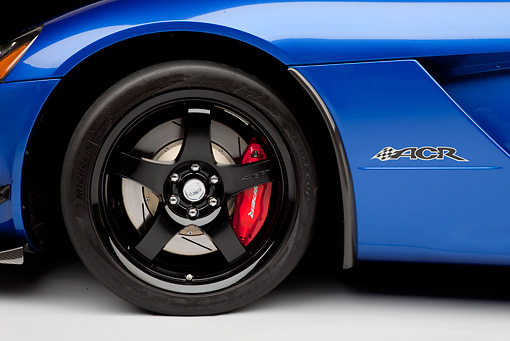 AUT 30 RK5362 01 © Kimball Stock 2010 Dodge Viper ACR Blue With Black Stripe Front Wheel Detail In Studio
