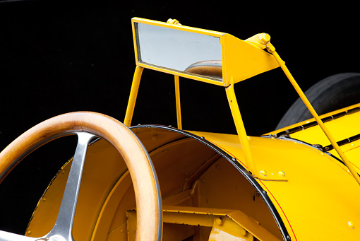 AUT 30 RK5364 01 © Kimball Stock 1911 Marmon Wasp Yellow Rearview Mirror Detail In Studio