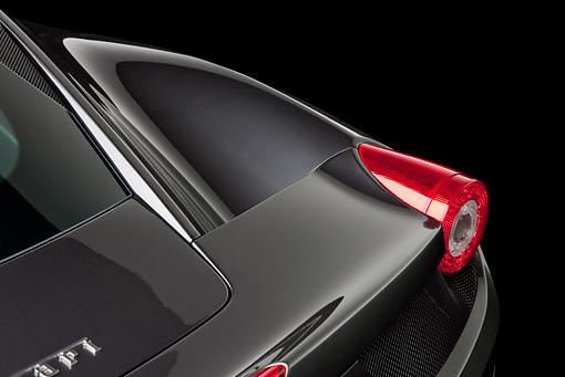 AUT 30 RK5491 01 © Kimball Stock 2010 Ferrari 458 Italia Gray Tail Light Detail In Studio