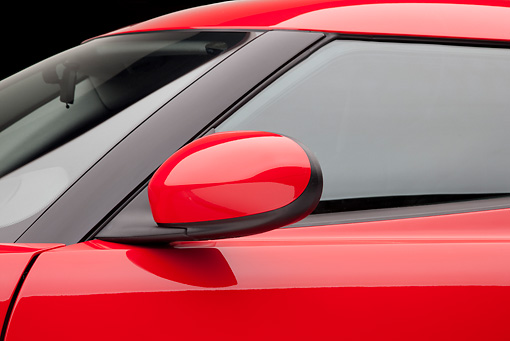 AUT 30 RK5508 01 © Kimball Stock 2013 Lotus Evora Red Side Mirror Detail In Studio