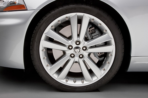 AUT 30 RK5527 01 © Kimball Stock 2011 Jaguar XKR Coupe Silver Detail On White Seamless