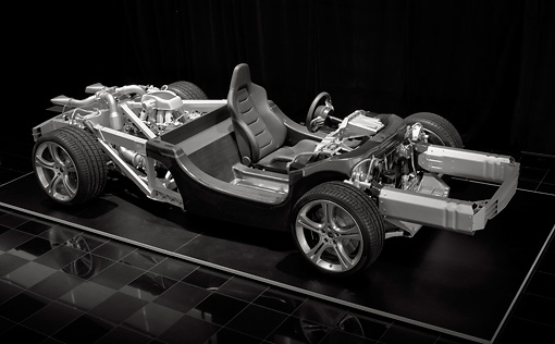 AUT 30 RK5592 01 © Kimball Stock 2012 McLaren MP4-12C Chassis And Engine Detail In Studio