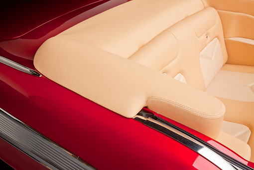 AUT 30 RK5703 01 © Kimball Stock 1957 Chevrolet Bel Air Convertible Red Rear Seat Detail In Studio