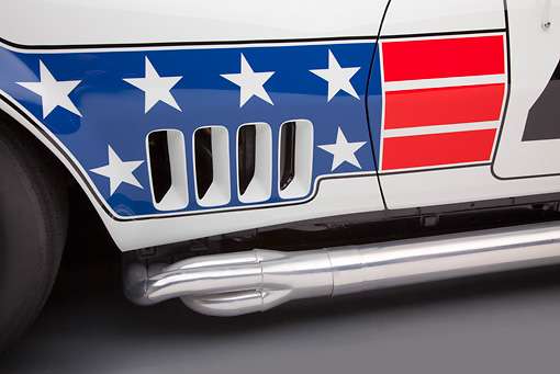 AUT 30 RK5724 01 © Kimball Stock 1969 Chevrolet Corvette BFG #49 ZL-1 Race Car Red, White And Blue Vent Detail In Studio