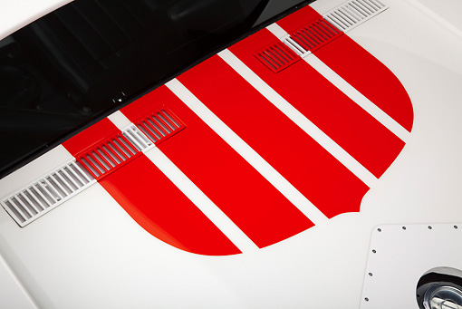 AUT 30 RK5737 01 © Kimball Stock 1969 Chevrolet Corvette BFG #49 ZL-1 Race Car Red, White And Blue Vent Detail In Studio
