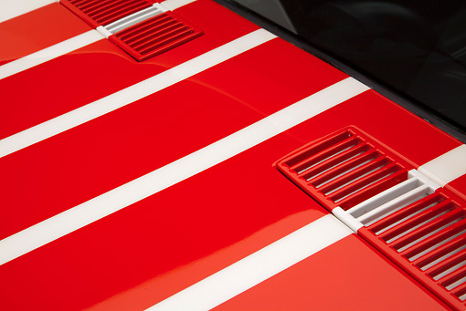 AUT 30 RK5738 01 © Kimball Stock 1969 Chevrolet Corvette BFG #49 ZL-1 Race Car Red, White And Blue Vent Detail In Studio