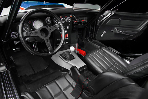 AUT 30 RK5744 01 © Kimball Stock 1969 Chevrolet Corvette BFG #49 ZL-1 Race Car Red, White And Blue Interior Detail In Studio