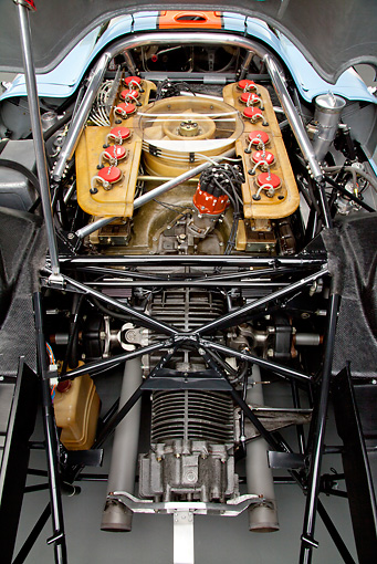 AUT 30 RK5779 01 © Kimball Stock 1969 Porsche 917-K Blue And Orange Engine Detail Studio