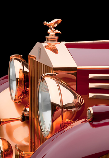 AUT 30 RK5791 01 © Kimball Stock 1937 Rolls-Royce Phantom III Freestone & Webb Sedanca Red And Copper Front Detail In Studio