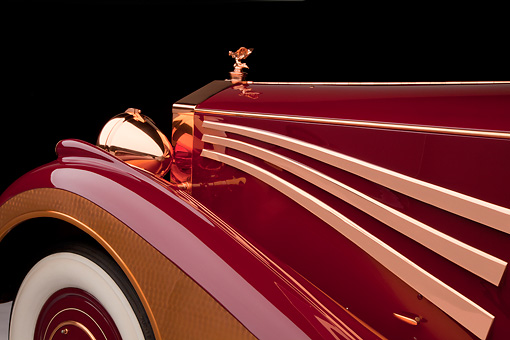 AUT 30 RK5811 01 © Kimball Stock 1937 Rolls-Royce Phantom III Freestone & Webb Sedanca Red And Copper Hood Detail In Studio