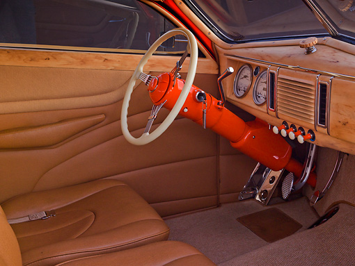 AUT 30 RK5895 01 © Kimball Stock 1939 Ford Woodie Orange Interior Detail