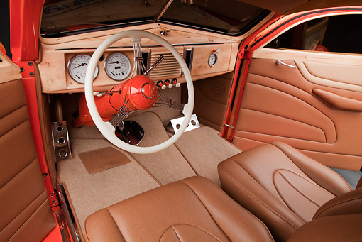 AUT 30 RK5896 01 © Kimball Stock 1939 Ford Woodie Orange Interior Detail