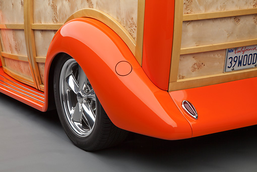 AUT 30 RK5902 01 © Kimball Stock 1939 Ford Woodie Orange Rear Wheel Detail
