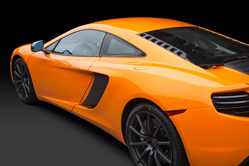 AUT 30 RK5942 01 © Kimball Stock 2012 McLaren MP4-12C Orange Side Detail Studio