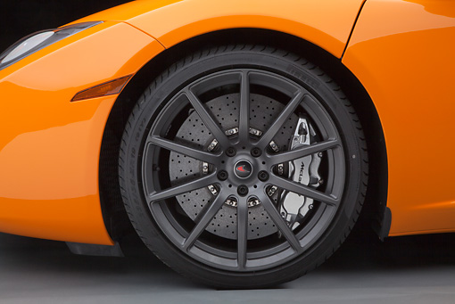AUT 30 RK5948 01 © Kimball Stock 2012 McLaren MP4-12C Orange Front Wheel Detail Studio