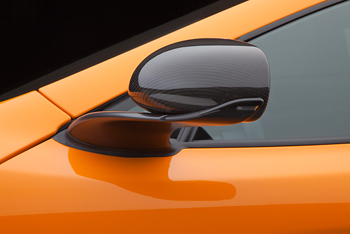 AUT 30 RK5949 01 © Kimball Stock 2012 McLaren MP4-12C Orange Side Mirror Detail Studio