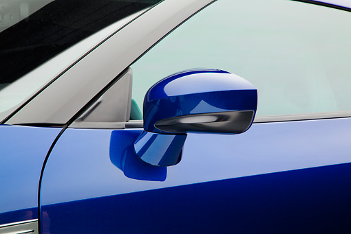 AUT 30 RK5962 01 © Kimball Stock 2012 Nissan GT-R Deep Blue Pearl Side Mirror Detail In Studio