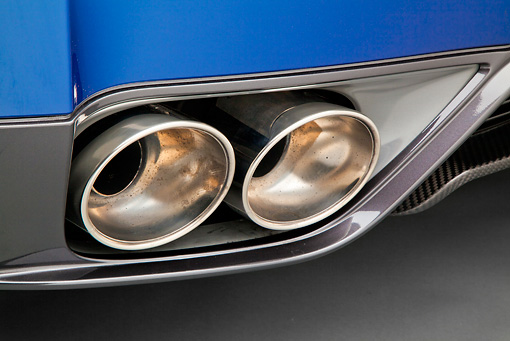 AUT 30 RK5963 01 © Kimball Stock 2012 Nissan GT-R Deep Blue Pearl Exhaust Pipe Detail In Studio