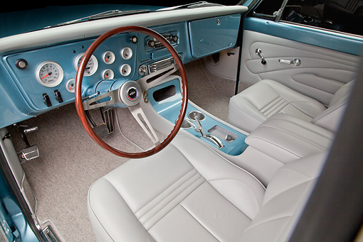 AUT 30 RK5968 01 © Kimball Stock 1972 Chevrolet Blazer Blue And White Interior Detail In Studio