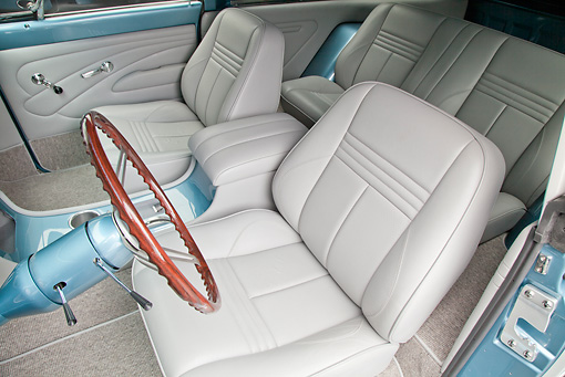 AUT 30 RK5970 01 © Kimball Stock 1972 Chevrolet Blazer Blue And White Interior Detail In Studio