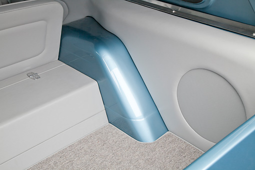AUT 30 RK5971 01 © Kimball Stock 1972 Chevrolet Blazer Blue And White Interior Detail In Studio