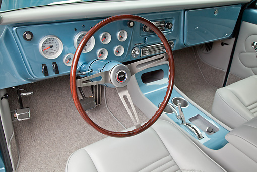 AUT 30 RK5972 01 © Kimball Stock 1972 Chevrolet Blazer Blue And White Interior Detail In Studio