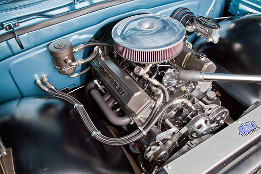 AUT 30 RK5976 01 © Kimball Stock 1972 Chevrolet Blazer Blue And White Engine Detail In Studio
