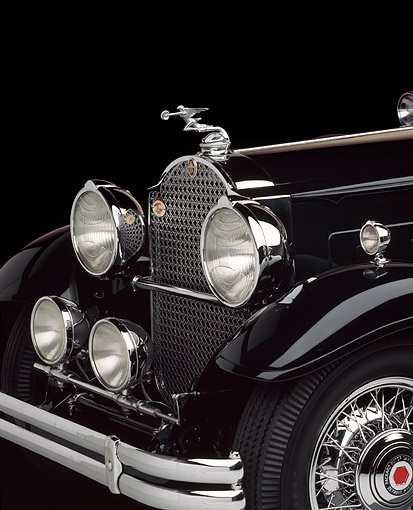 AUT 30 RK5979 01 © Kimball Stock 1930 Black Packard 850 Roadster Detail Front Hood And Emblem In Studio