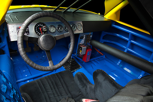 AUT 30 RK5992 01 © Kimball Stock 1987 Chevrolet Monte Carlo Stock Car Blue And Yellow Interior Detail In Studio