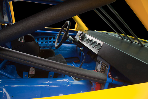 AUT 30 RK5993 01 © Kimball Stock 1987 Chevrolet Monte Carlo Stock Car Blue And Yellow Interior Detail In Studio