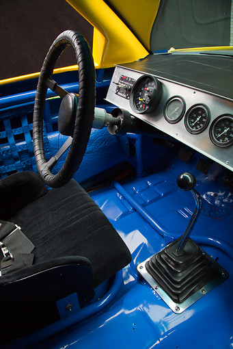 AUT 30 RK5994 01 © Kimball Stock 1987 Chevrolet Monte Carlo Stock Car Blue And Yellow Interior Detail In Studio