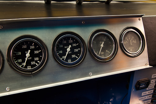 AUT 30 RK5997 01 © Kimball Stock 1987 Chevrolet Monte Carlo Stock Car Blue And Yellow Dashboard Detail In Studio