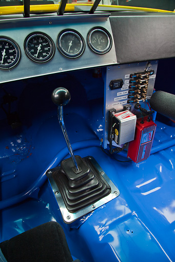 AUT 30 RK6002 01 © Kimball Stock 1987 Chevrolet Monte Carlo Stock Car Blue And Yellow Interior Detail In Studio