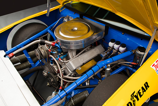 AUT 30 RK6006 01 © Kimball Stock 1987 Chevrolet Monte Carlo Stock Car Blue And Yellow Engine Detail In Studio
