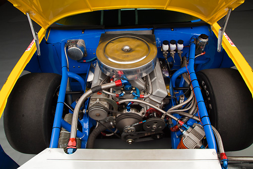 AUT 30 RK6007 01 © Kimball Stock 1987 Chevrolet Monte Carlo Stock Car Blue And Yellow Engine Detail In Studio