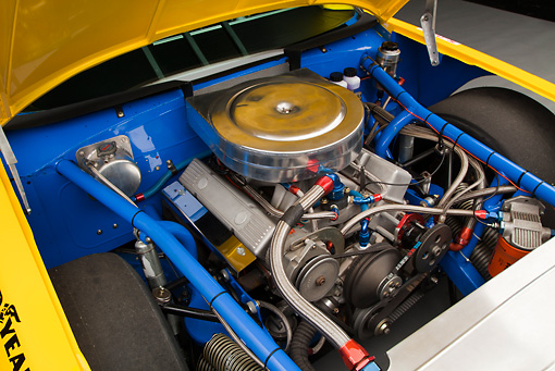 AUT 30 RK6008 01 © Kimball Stock 1987 Chevrolet Monte Carlo Stock Car Blue And Yellow Engine Detail In Studio