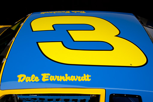 AUT 30 RK6010 01 © Kimball Stock 1987 Chevrolet Monte Carlo Stock Car Blue And Yellow Roof Detail In Studio