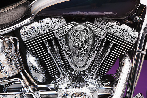 AUT 30 RK6057 01 © Kimball Stock 2003 Harley-Davidson Custom Fat Boy Silver Engrave Engine Detail In Studio