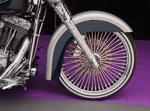 AUT 30 RK6060 01 © Kimball Stock 2003 Harley-Davidson Custom Fat Boy Silver Engrave Front Wheel Detail In Studio
