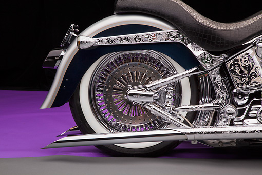 AUT 30 RK6061 01 © Kimball Stock 2003 Harley-Davidson Custom Fat Boy Silver Engrave Rear Wheel Detail In Studio