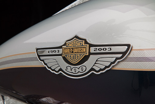 AUT 30 RK6063 01 © Kimball Stock 2003 Harley-Davidson Custom Fat Boy Silver Engrave Logo Detail In Studio