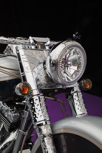 AUT 30 RK6065 01 © Kimball Stock 2003 Harley-Davidson Custom Fat Boy Silver Engrave Headlight Detail In Studio