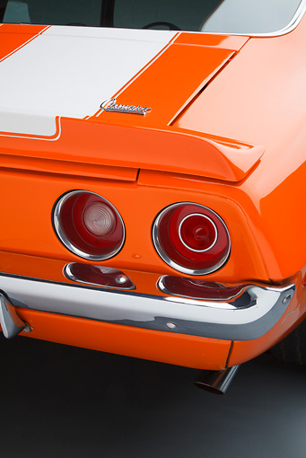 AUT 30 RK6070 01 © Kimball Stock 1970 1/2 Chevrolet Camaro Z-28 Hugger Orange Tail Light Detail In Studio
