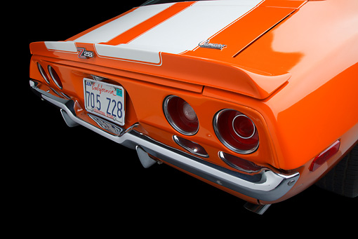AUT 30 RK6071 01 © Kimball Stock 1970 1/2 Chevrolet Camaro Z-28 Hugger Orange Tail Light Detail In Studio