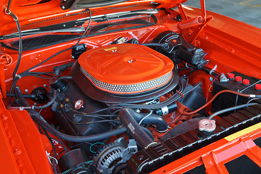 AUT 30 RK6124 01 © Kimball Stock 1971 Dodge Hemi Charger Orange With White Top Engine Detail