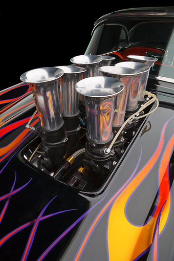 AUT 30 RK6129 01 © Kimball Stock 1956 Corvette Hardtop Gasser Black With Flames Engine Detail In Studio